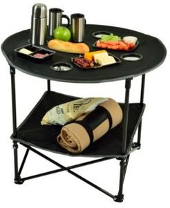 Canvas Folding Table and Carrier for Picnic, Travel, Tailgating