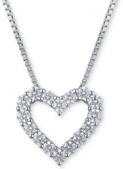 Macy's Star Signature Certified Diamond Heart Pendant Necklace (1-1/2 ct. t.w.) in 14k White Gold