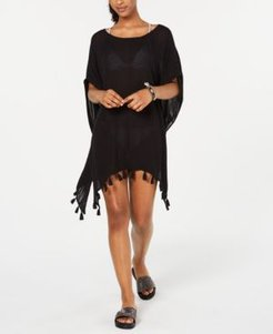 Juniors' Make Your Soul Tasseled Poncho Cover-Up Women's Swimsuit