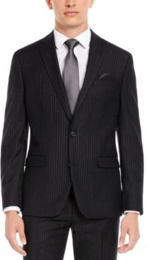 Slim-Fit Black Stripe Suit Separate Jacket, Created for Macy's