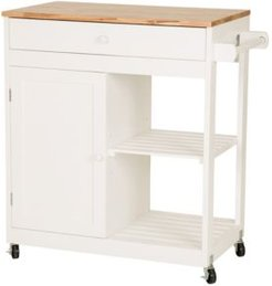 Wooden Basic Kitchen Cart with 1 Drawer and 1 Door Plus 2 Tier