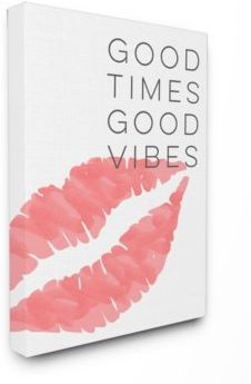 "Good Times Good Vibes Lip Print Cavnas Wall Art, 16"" x 20"""