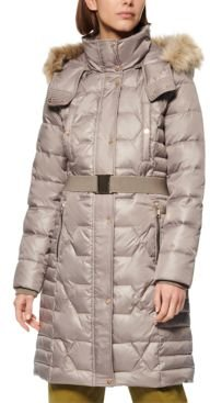 Shine Belted Faux Fur Hooded Down Puffer Coat