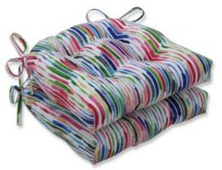 Drizzle Summer Reversible Chair Pad, Set of 2