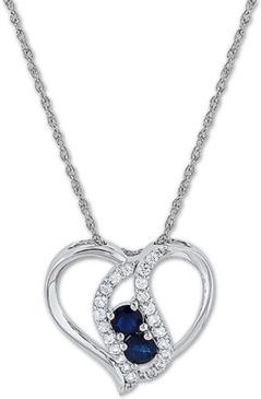 """Blue Sapphire (5/8 ct. t.w.) & White Sapphire (3/8 ct. t.w.) 18"""" Pendant Necklace in Sterling Silver"""