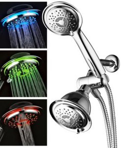 3-Color Led Shower Twin Showerhead Combo System Bedding
