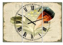 """Colorful Elegant Feather On Old Style Newspaper Iv Large Cottage 3 Panels Wall Clock - 23"""" x 23"""" x 1"""""""