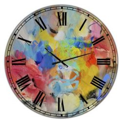 """Blue and Yellow Color Spatters Iii Oversized Modern Wall Clock - 36"""" x 28"""" x 1"""""""