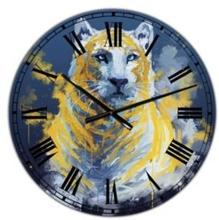 """Tiger Spirit in Blue and Gold Oversized Fashion Wall Clock - 38"""" x 38"""" x 1"""""""