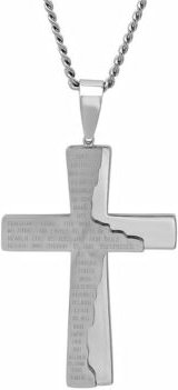 The Lord's Prayer Distressed Tablet Cross Pendant Necklace