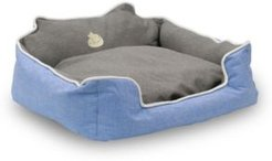 """Water Resistant Rectangle High Back Bolster Comfort Pet Bed, 25""""x21"""" Dog Bed with Removable and Reversible Insert Cushion Bedding"""