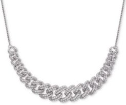 "Diamond Link Detail 18"" Pendant Necklace (1 ct. t.w.) in Sterling Silver, Created for Macy's"