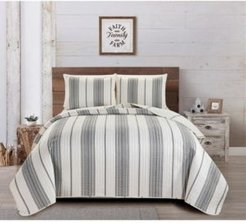 Great Bay Home Wesley Collection Striped 3-Piece Quilt Set, King