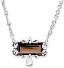"""Smoky Quartz Pendant Necklace (11-3/4 ct. t.w.) in Sterling Silver, 16"""" + 2"""" extender"""