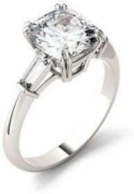Moissanite Cushion and Baguette Engagement Ring 2-3/4 ct. t.w. Diamond Equivalent in 14k White Gold