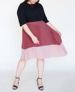 Plus Size Asymmetric Pleated Midi Skirt