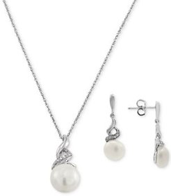 2-Pc. Set Cultured Freshwater Pearl (8 & 9mm) & Diamond (1/10 ct. t.w.) Pendant Necklace & Matching Drop Earrings in Sterling Silver