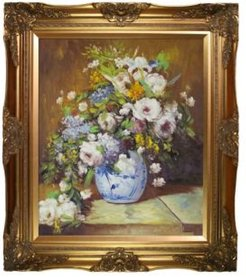 """by Overstockart Grande Vase Di Fiori by Pierre-Auguste Renoir with Victorian Frame Oil Painting Wall Art, 32"""" x 28"""""""