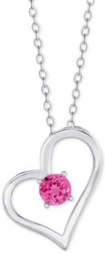 """Pink Topaz Heart 18"""" Pendant Necklace (1/2 ct. t.w.) in Sterling Silver"""