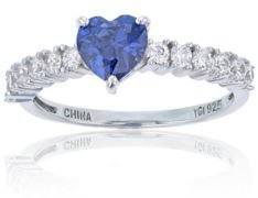 Purple Heart Cubic Zirconia Ring in Rhodium Plated Sterling Silver