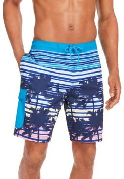 """Sunset Stripe Palm-Print Quick-Dry 9"""" Board Shorts, Created for Macy's"""