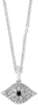 """Effy Black Sapphire Accent & Diamond (1/6 ct. t.w.) Evil Eye 18"""" Pendant Necklace in Sterling Silver"""