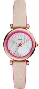 Carlie Mini Hot Pink & Blush Leather Strap Watch 28mm