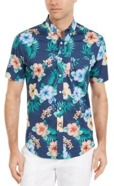 Dot Floral Tropical Print Short Sleeve Shirt, Created for Macy's
