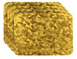 Reversible Shimmering Metallic Leaf Dining Table Indoor Outdoor Placemats -Set of 4