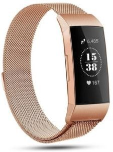 Unisex Fitbit Charge 3 Rose Gold-Tone Stainless Steel Watch Replacement Band