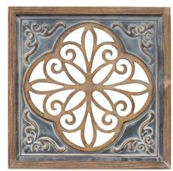 Wood and Metal Square Wall Decor