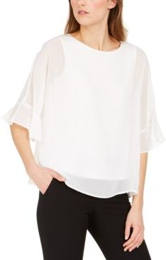 Jewel-Neck Chiffon Blouse