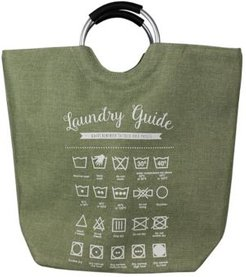 Hds Trading Corp Laundry Guide Canvas Hamper Tote with Soft Grip Handles