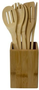 Hds Trading Corp 5 Piece Bamboo Utensils Set with Holder