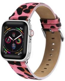 and Women's Apple Pink Leather Replacement Band 40mm
