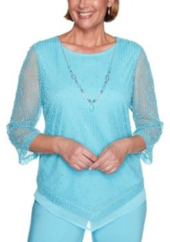 Petite Sea You There Popcorn Knit Necklace Top