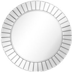 """Moderno Beveled Round Wall Mirror Solid Wood Frame with 0.75"""" Beveled Center Mirror, 32"""" x 32"""" x 0.67"""""""