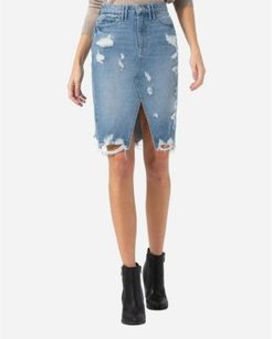 Heavily Distressed Pencil Skirt