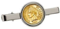 Gold-Layered 1800's Indian Penny Coin Tie Clip
