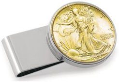 Gold-Layered Silver Walking Liberty Half Dollar Stainless Steel Coin Money Clip
