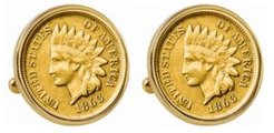 Gold-Layered 1800's Indian Penny Bezel Coin Cuff Links