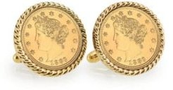 Gold-Layered Liberty Nickel Rope Bezel Coin Cuff Links