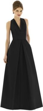 Pleat-Skirt A-Line Gown