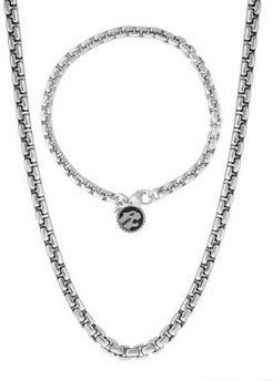 "Effy 2-Pc. Set Men's Rounded Box Link 22"" Chain Necklace & Matching Logo Bracelet in Sterling Silver"