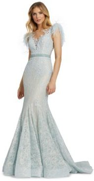 Embellished Illusion-Neck Gown