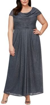 Plus Size Cowlneck Glitter Gown