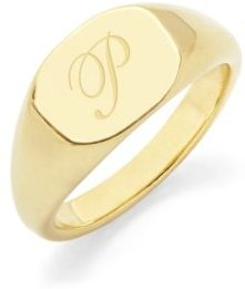 Claire Initial Signet Gold-Plated Ring