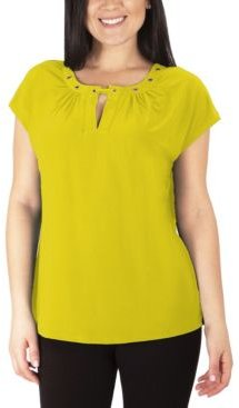 Plus Size Cap Sleeve Grommeted Top
