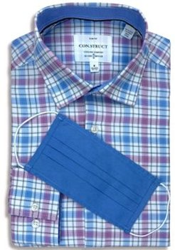 Receive a Free Face Mask with purchase of the Con. Struct Men's Slim-Fit Non-Iron Performance Stretch Plaid Cooling Comfort Dress Shirt