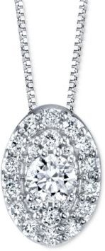 """Diamond Oval Halo 18"""" Pendant Necklace (1/4 ct. t.w.) in 14k White Gold"""